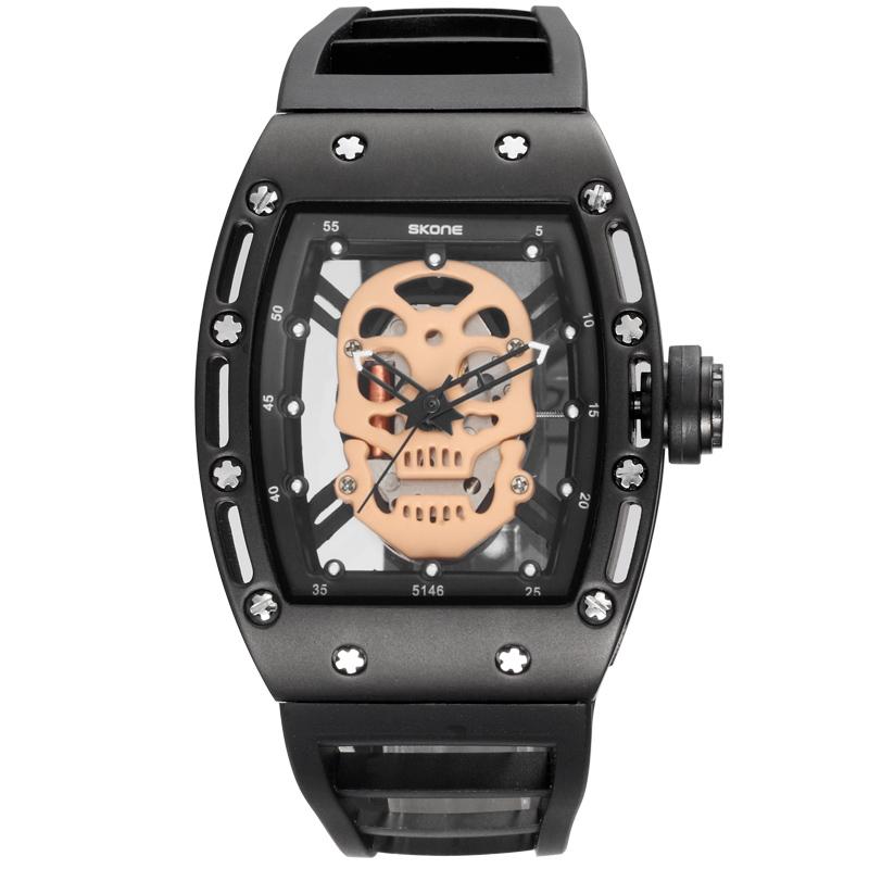 Prix pour SKONE Hommes Montres Nouvelle Marque De Luxe Creux Silicone Horloge Mâle 30 m Étanche Casual Sport Montre Hommes Poignet Quartz sport Montre homme