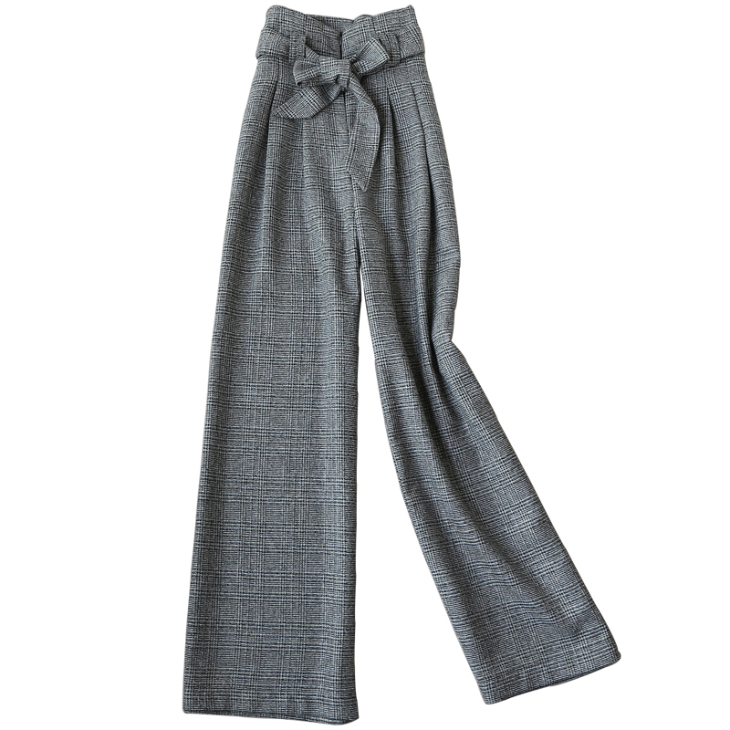 New Women Woolen plaid straight   Wide     Leg     Pants   high waist fashion Loose   pants   Ladies
