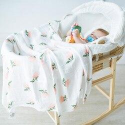 حفاضات أطفال من الموسلين لحديثي الولادة ، بطانية لينة للأطفال لعربة الأطفال مصنوعة من الخيزران القطني ، غطاء للفراش ، التصوير 120x120cm