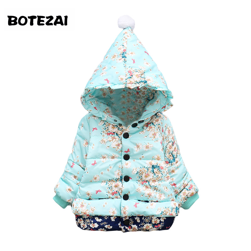 New Girls Outerwear children's clothing Baby girl fashion printed Flora coat Kids Winter Warm jacket clothes for 1-4 years old