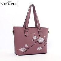 YINGPEI Fashion National Embroidery Floral Image Women Leather Messenger Tote Bag Retro Flap Shoulder Bag Handbag