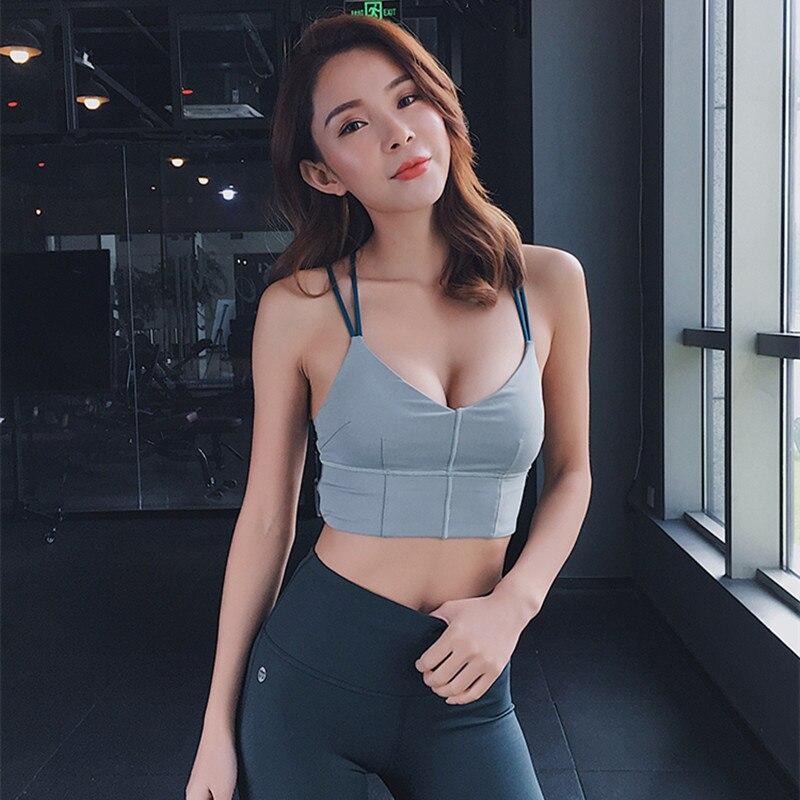 Womens Yoga Workouts Strappy Back Sport Tank: Sexy Yoga Bra Thin Shoulder Strap Women Beauty Back Sports