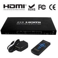 4x8 HDMI разделитель, сплиттер аудио экстрактор 4 вход 8 выход переключатель аудио видео конвертер 3D 1080 P дистанционное управление + адаптеры пит