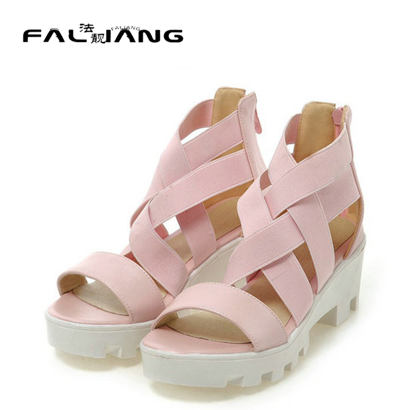 ФОТО 2017 summer style high heel Platform Sandal for Woman Thick Square Heels Open Toe Gladiator sandals Casual Shoes
