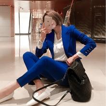 women suit set High quality blue suit fe