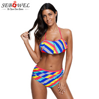 SEBOWEL Sexy Rainbow Striped Ruffle High Waist Bikini Swimwaear Women Beachwear Push Up Swim Suit Bandeau