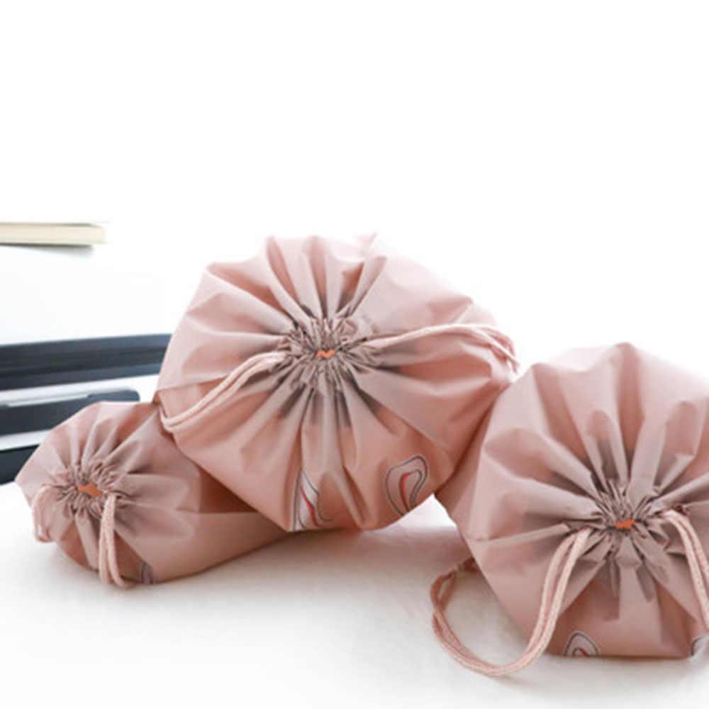 Bolsa de cosméticos de viaje impermeable bolso organizador de maquillaje para mujer bolsa de lavado de gran capacidad con cordón de almacenamiento de artículos de tocador 1 unid/3 uds