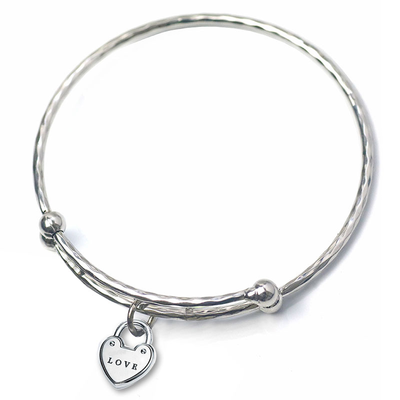 Tiny Tag Bracelets Bangles Charms Heart Silver Color Adjustable Bangles For Women Tiffan Jewelry Making Birthday Gifts 2018 New