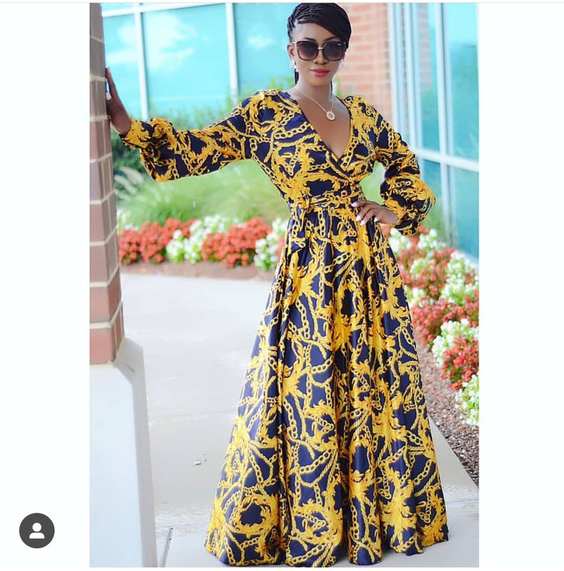 2019 African Dress Autumn And Winter Digital Printing, Slim Sleeved Dress, New, Fashion, African, Women, Clothing