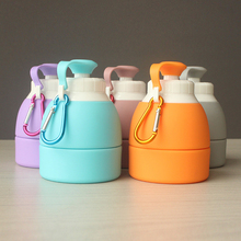 YIBO 1Pcs Foldable Sports Water Bottle Portable Outdoor Large Capacity Telescopic Anti-Skid Heat Insulation Kettle With Hook