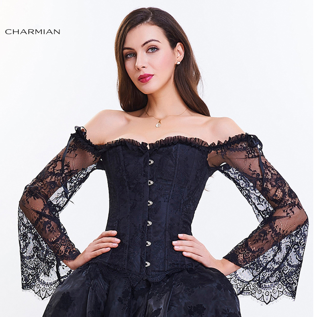 497e24037b24b Charmian Women s Retro Gothic Corset Plus Size Sexy Black Lace Off Shoulder  Overbust Corsets and Bustiers Waist Trainer