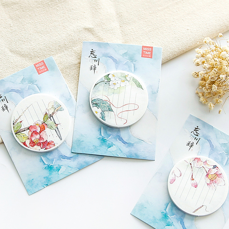 Creative ancient easterly stickers beautiful flowers memo pad paper round N times posted notes
