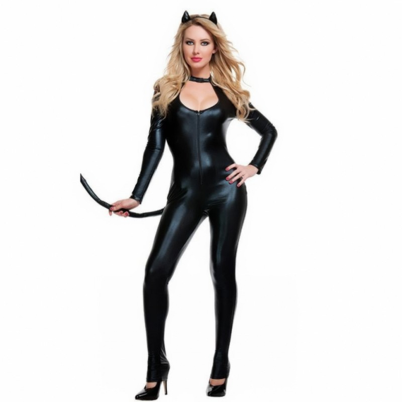 Brand Sexy Female Leather Catwoman Costume Long