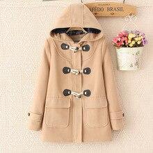 Duffle Coat Long Turn Down Horn Button Hooded Collar Woolen Overcoat Wide Waisted manteau femme Out Wear winter coats 6