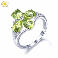 Hutang Stone Jewelry Natural Gemstone Peridot Similar Diamond Lucky Ring Solid 925 Sterling Silver Fine Fashion Jewelry For Gift
