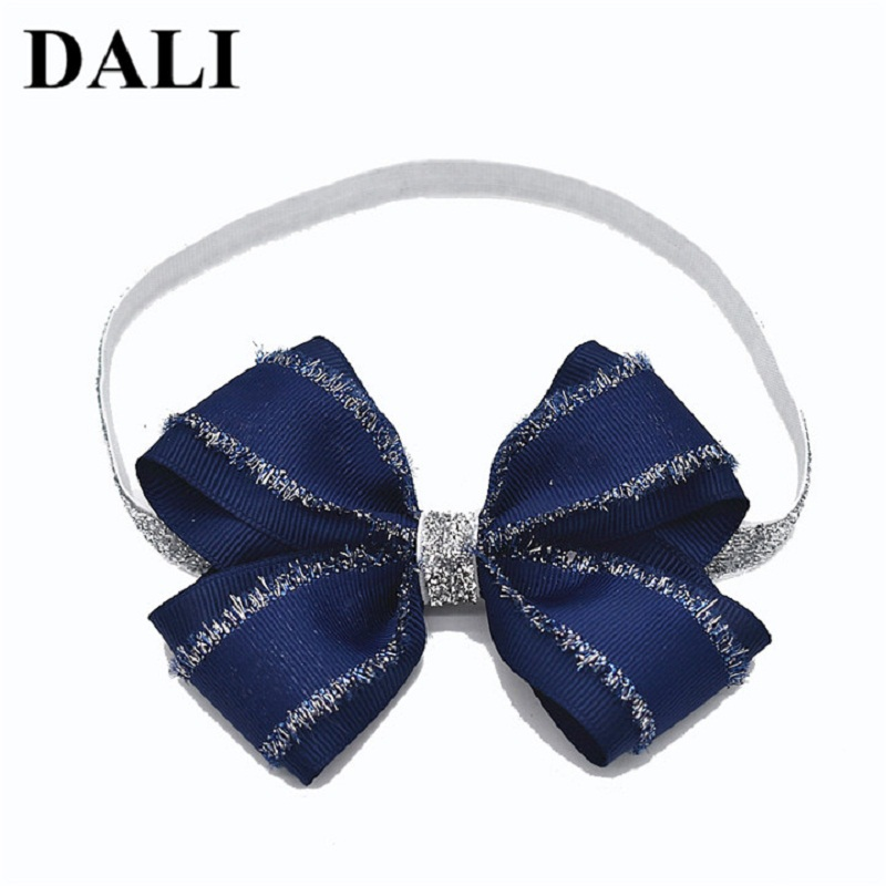 DALI Fashion Baby Bow Knot Headband Clips Navy Blue Gray With Glitter Side Bow Hair Band Girls Silver Band Hair Decoration ...