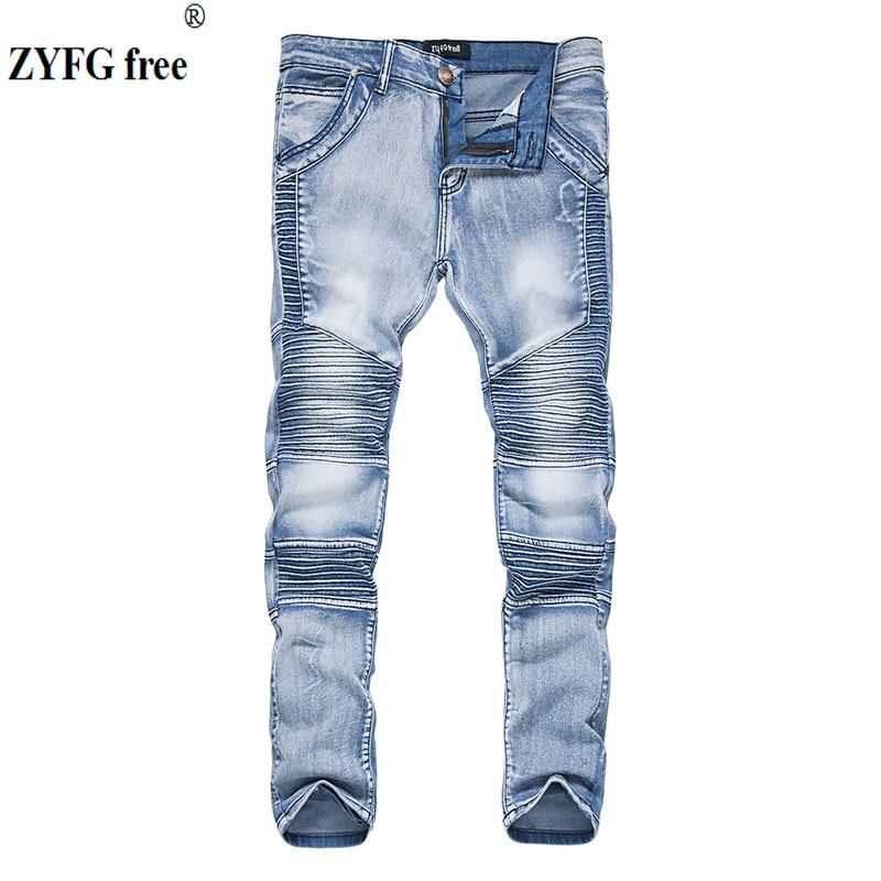 Tops 2017 Men's Fashion Casual Jeans Men Autumn Pleated Decorate Youth Pop Full Length Jeans Pants Light Blue Black Color S-XXL