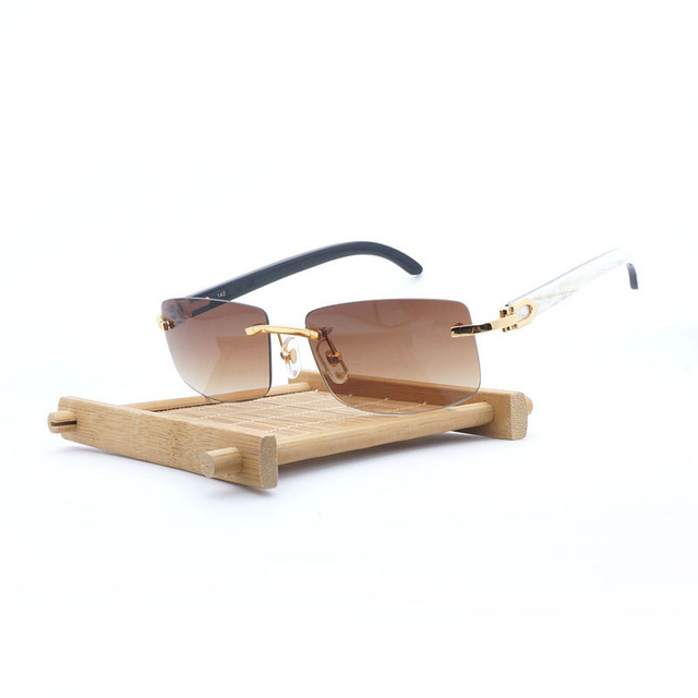 bff9f698a123 Natural Buffalo Horn Sunglasses Men Rimless Square Wooden Sun Glasses  Luxury Shades for Club Outdoor Retro