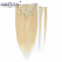 Clip in Human Hair Extensions Blonde Color #613 Clip in Extensions Straight Hair 12pcs/set, weighs 95g with 20 clips, 2pcs free