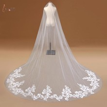 One Layer Lace Edge Ivory Cathedral Wedding Veil With Comb Long Bridal Veils Applique Wedding Accessories voile mariage