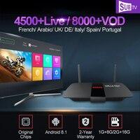 4K France IPTV Box R1 Android 8.1 1G/2G 8G/16G Smart Tv With SUBTV 1 Year Iptv Code UK Italy Portugal Arabic Iptv Subscription