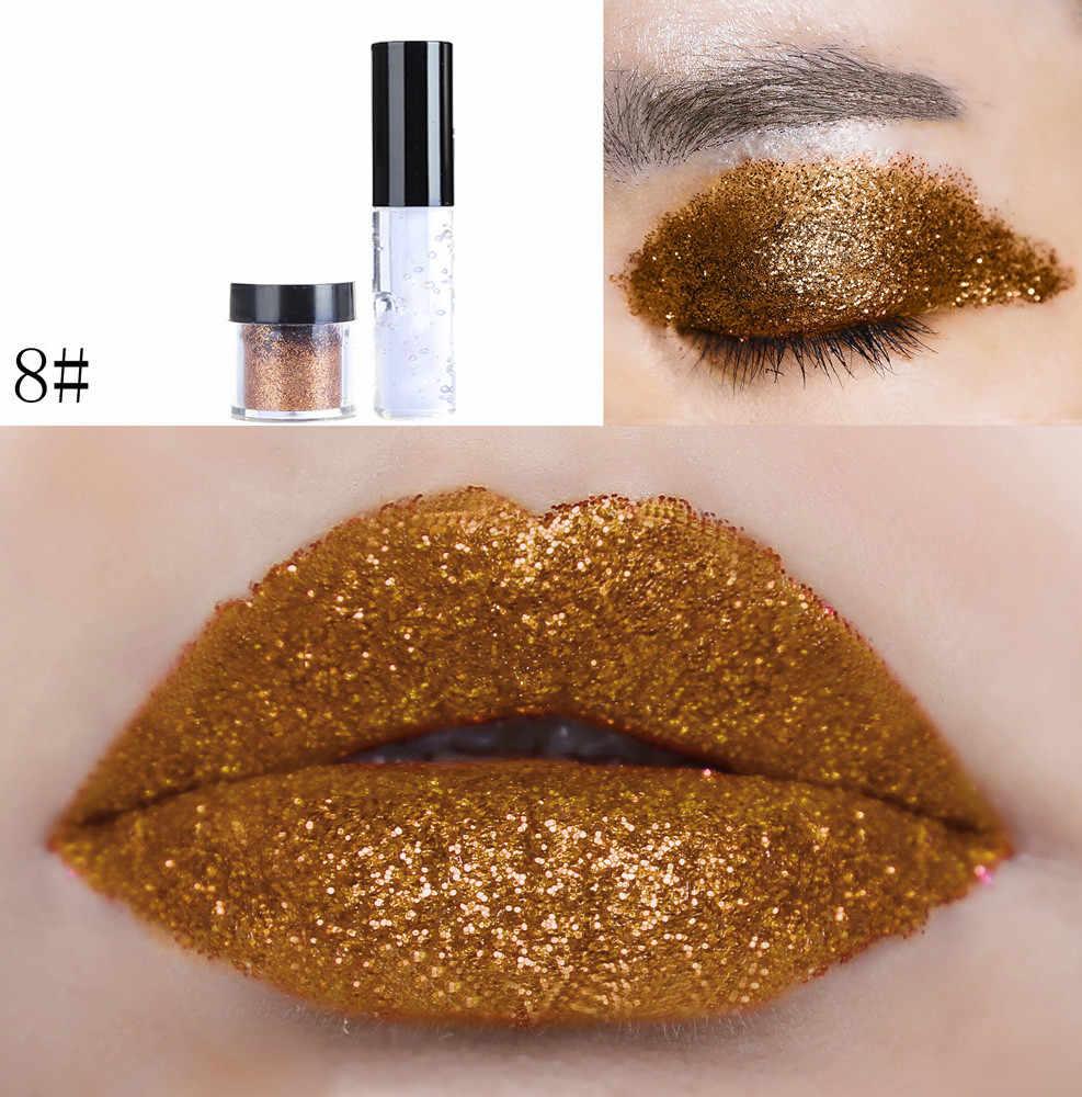 Shimmer Glitter Lip Gloss In Polvere Tavolozze Scintillio Rossetto Cosmetico Ombretto compagno di rossetto impermeabile nude long last lip stick