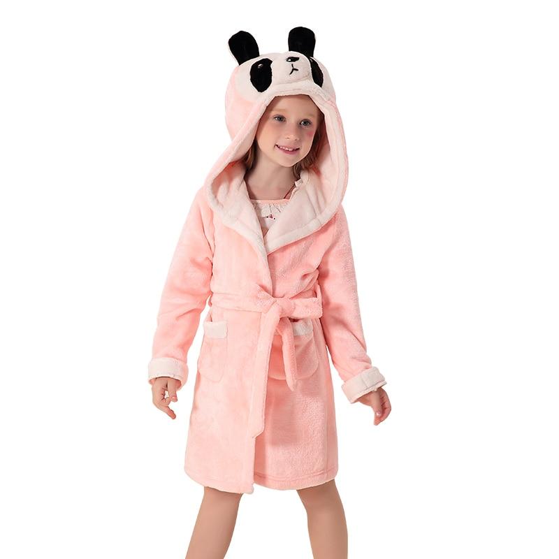 Kamiwa/Детские Обувь для девочек зимние пижамы коралловые бархат Халаты с капюшоном пижамы Обувь для девочек одежда халат Детская одежда