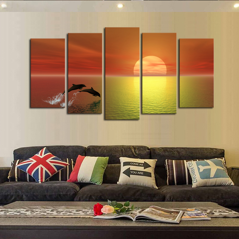 Modern Sunrise Landscape Canvas Painting 5 Panels(no Frame)dolphin ...