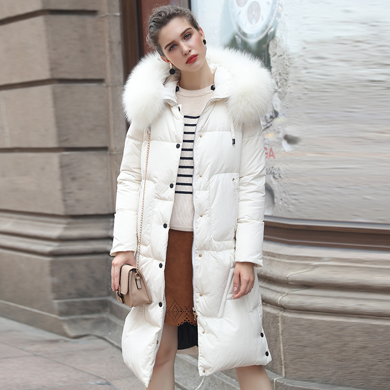 Slim Fourrure Veste Col Blanc De Casual Plein Dame Haut Femmes Parka 2017 Hiver Longue New Manteaux Solid Rembourré Gamme Épais Blanche X7YRq8g