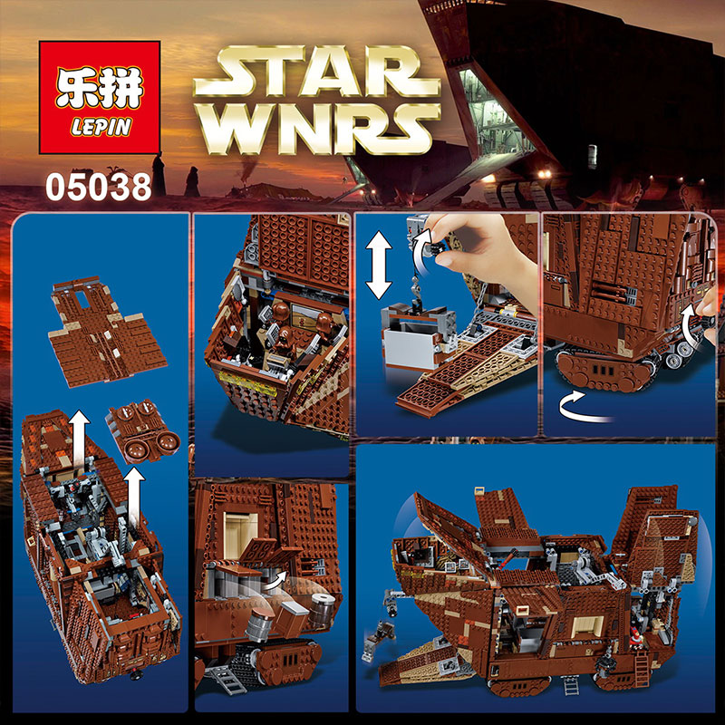 EN STOCK LePin 05038 3346 Unids Star Wars Force Despierta Sandcrawler Modelo Kit