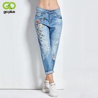 GOPLUS 2018 New Boyfriend Jeans Ripped High Waist Dense Denim Floral Embroidered Jeans For Women Plus