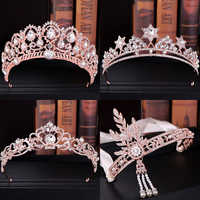 Luxury Rose Gold Tiaras And Crowns For Women Crystal Pearls Hair Jewelry Queen Diadems Bridal Headbands Wedding Hair Accessories