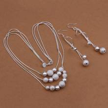 Silver plated Jewelry Set Sand Light Bead Necklace+Earring Two Piece Set