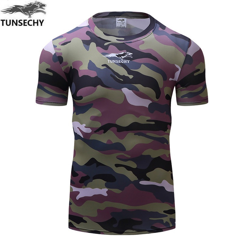 Camouflage Mens Compression Base Layer Weight Lifting Fitness Tight MMA Crossfit Tops Rashguard T-shirt camouflage short Sleeves