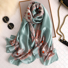 2019 New Silk Scarf for Women Luxury Designer Print Pashmina Scarves Lady Summer Beach Shawl Female Foulard Hijab Scarfs