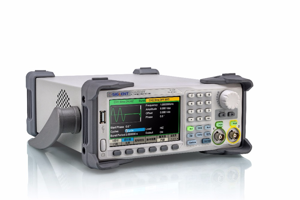 NEW Free Ship Siglent 30MHz waveform generator SDG1032X touch screen 150MSa/s 16Kpts wave length dual channel function generator  осциллограф siglent sds1152cml 2 150 1 sa
