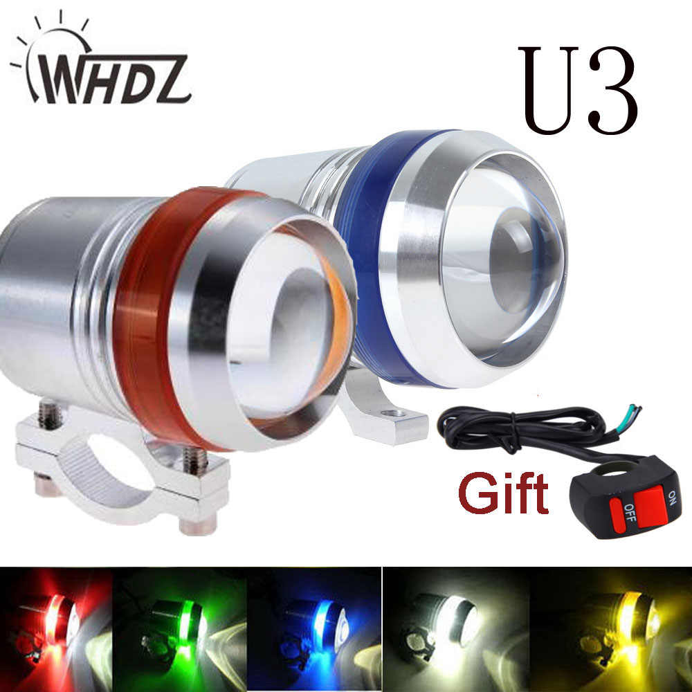 2pcs 30W U3 Motorcycle Spot Fog Headlight with white red Angle Eye bike spot light + 1 Pc Wiring as gift