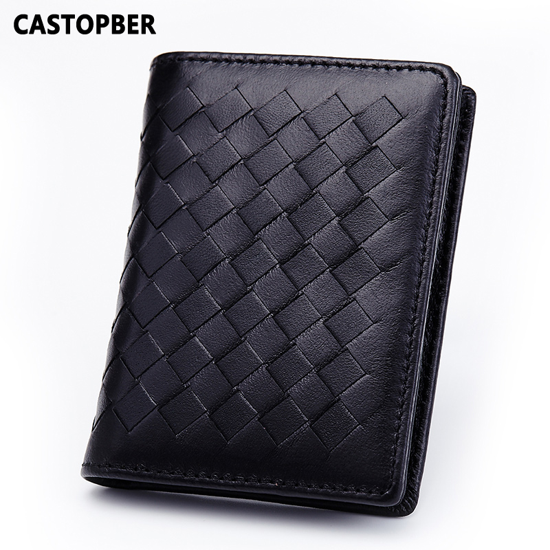 Handmade bags weave women leather genuine leather for Mens business card case