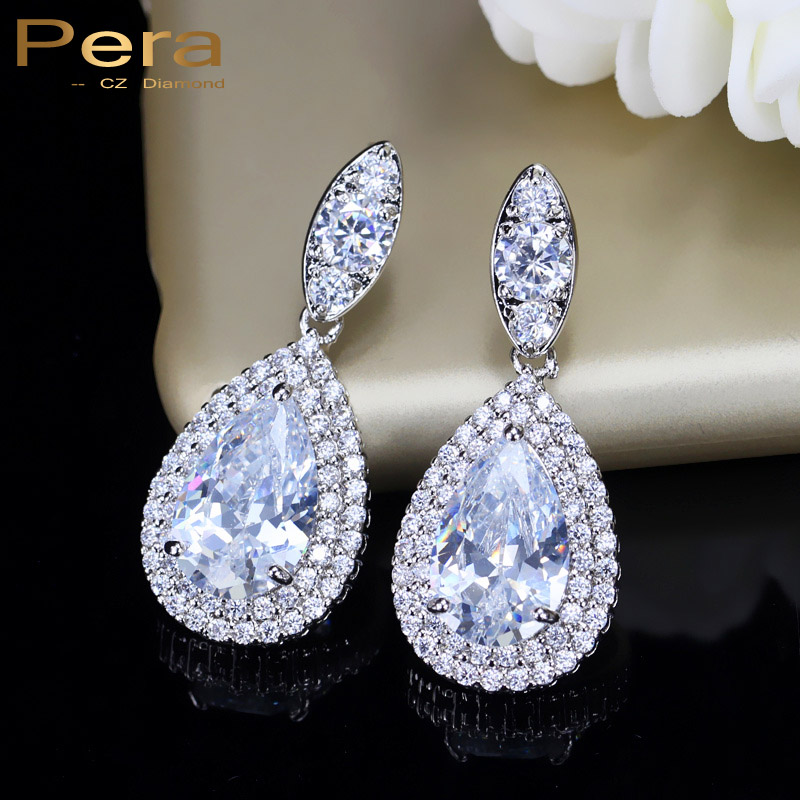 Pera Dubai Women Wedding Costume Jewelry White Gold Color Cubic Zirconia Crystal Tear Drop Clic Earrings For Brides E096 In From