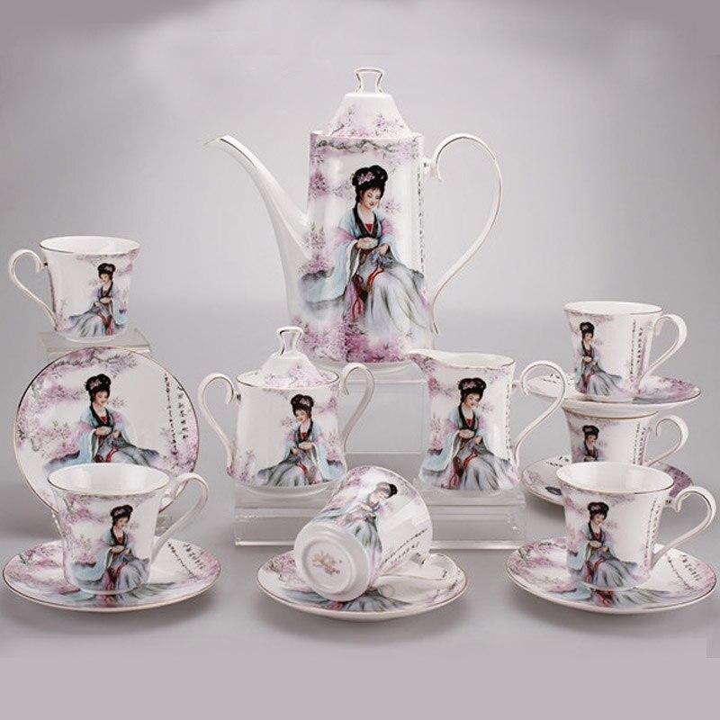 15 PCS Porcelain Coffee Set European Style Tea Set Ceramic British Bone China Teapot And Tea