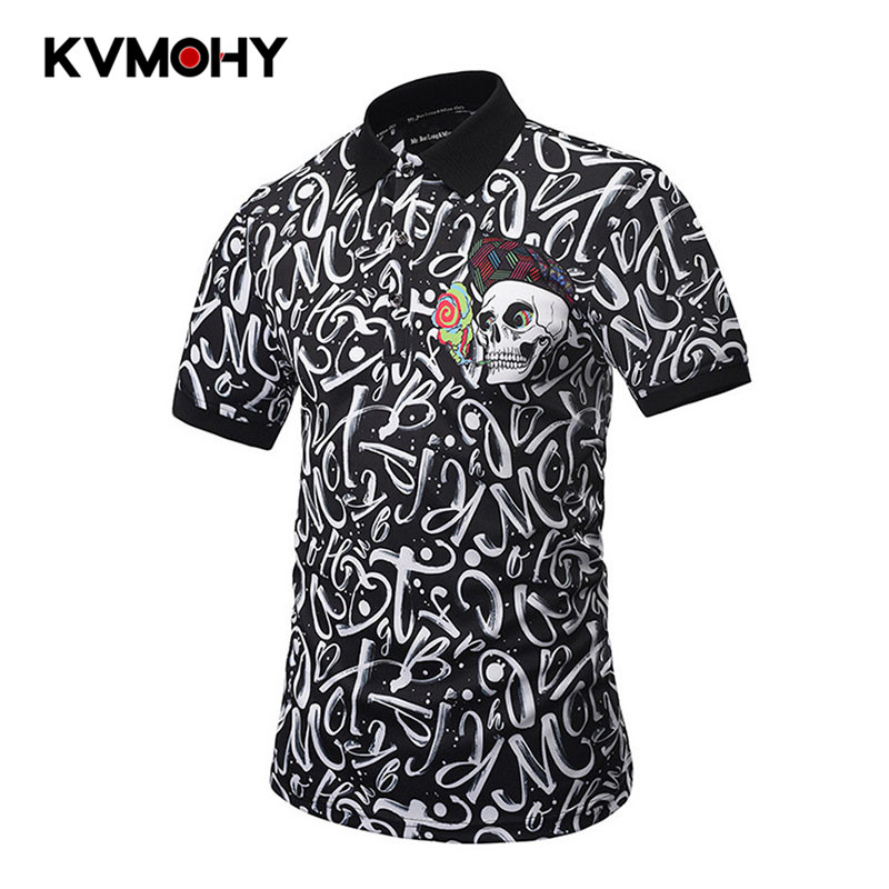Poloshirts Men New Male Cotton Casual Summer Short Sleeve Letter 3D Printing   Polo   Shirt Classical   Polos   Homme Hip Hop Streetwear