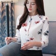 9585ba634b DHIHKK 2018 otoño nueva moda mujer blusa camisa impresión de la mariposa  dulce manga larga Slim seda blusas Mujer Tops