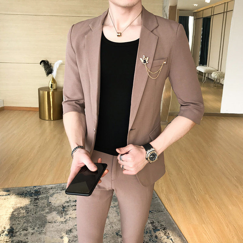 (Tops + pants) spring and summer new men's single button sleeve youth hair stylist Korean Slim suit suit two-piece