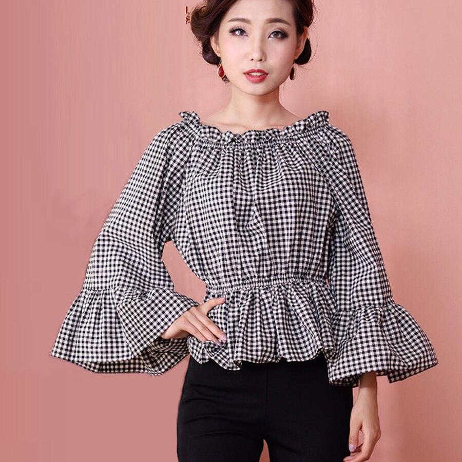 Nouveau printemps été femmes bureau dame coton chemise Vintage Lolita noir blanc Plaid Blouse décontracté lâche chemises