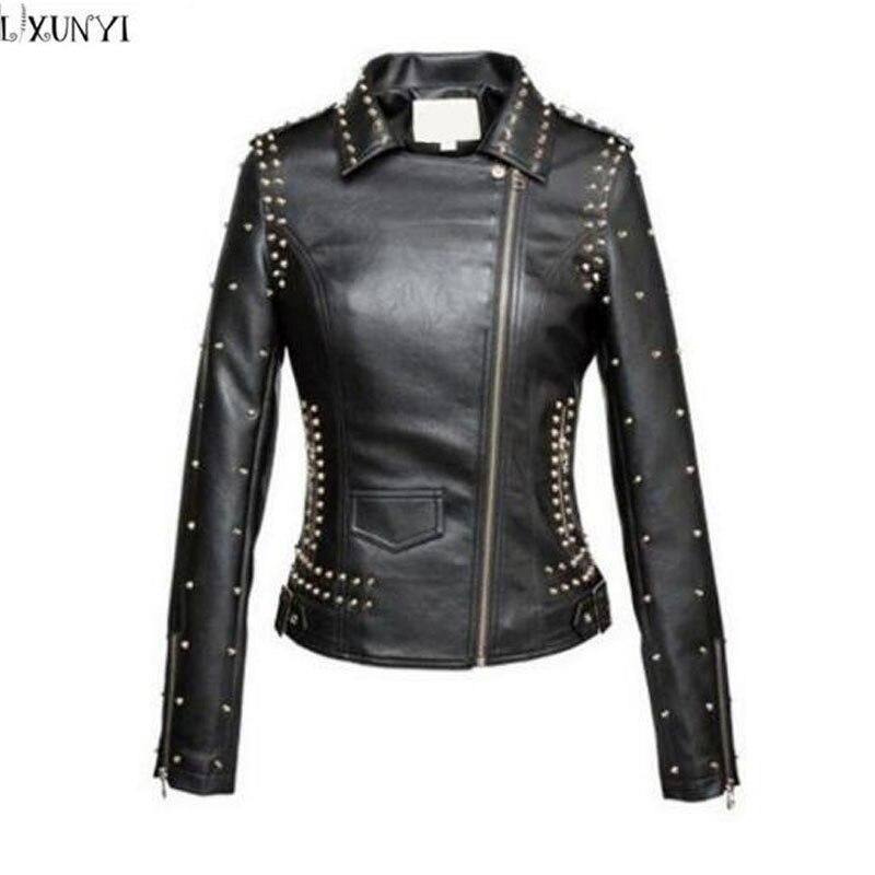 Handsome Rivet   leather   jacket Women Black High Quality Spring Slim Short Faux   Leather   Motorcycle jacket Women PU Coat