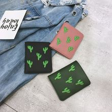 Candy Color Lady PU Purse Cactus Plants Embroidery Wallet for Young Men and Women Dollar Price 2019 Hot Sale Portefeuille Femme 2015 comics teenage mutant ninja turtles wallet dollar price purse pu tide men women boys girls wallets for young students w020