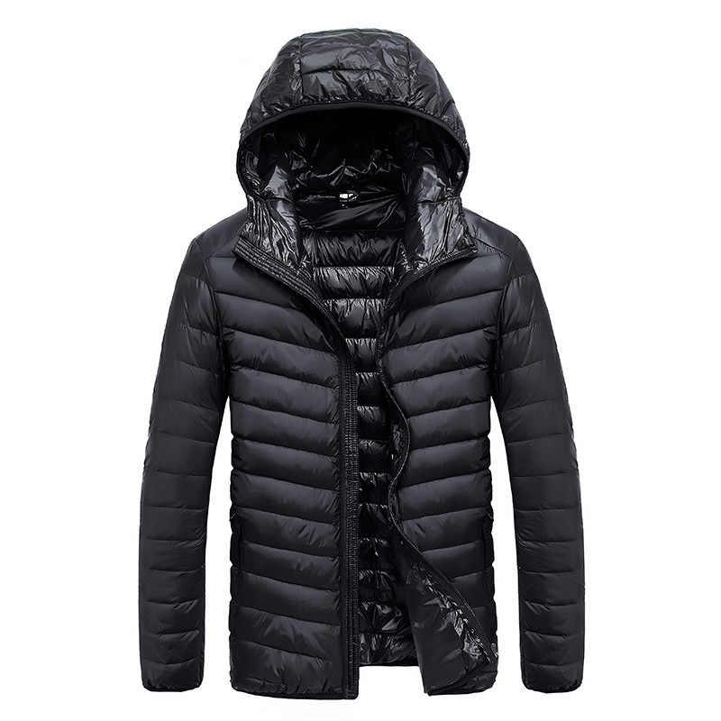 2018 осень Для Мужчин's Сверхлегкий Куртка–пуховик на 90% белом утином пуху мужской ветрозащитный непромокаемые парки Пальто Ultra Light Стенд воротник XCZ34