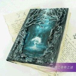 Mittelalterlichen gestylt echtes leder journal notebook Baum des Lebens-Hexe Schatten Buch Magie Notizen sketch Esoter