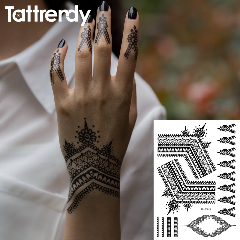 Popular Black Henna Tattoos Flash Temporary Waterproof Lace Trendy Inspired Body Tattoo Stickers Indian Hand Indian Bride Trible