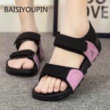 Platform Sandals Female Shoes Non-Slip Plus-Size Beach Casual Fashion Student Solid Hook